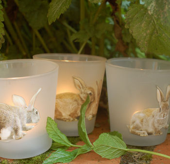 Set Of Three Bunny Tea Lights