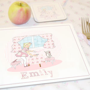 Girl's Personalised Coaster And Placemat 'Tea Party'