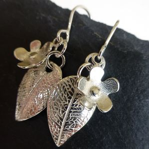 Flower And Leaf Silver Drop Earrings - earrings