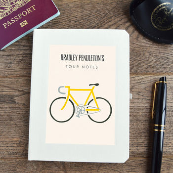 Personalised Limited Edition Yellow Bike Notebook