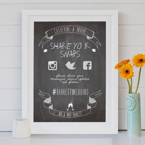 Wedding Chalkboard Social Media Print - outdoor wedding signs