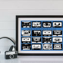 Personalised Playlist Cassette Print - Blue