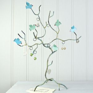 Teal Bird Branch Jewellery Tree - jewellery storage & trinket boxes