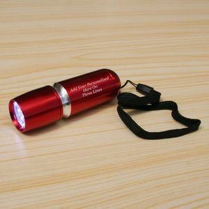 Personalised Red Aluminium Torch