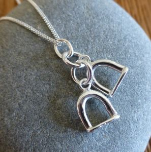 Silver Stirrup Charm Necklace - pet-lover