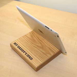 Personalised Oak iPad Holder