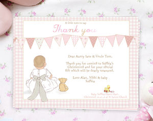 Christening Thank You Note Cards 'My Bow' - christening cards
