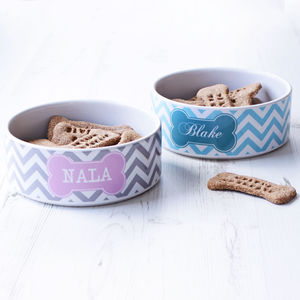 Personalised Chevron Pet Bowl