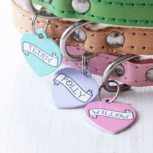 Personalised Pet Name ID Tag Heart Banner - walking