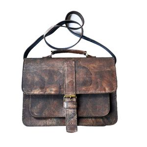 Satchel Handmade Wiped Brown - bags & purses