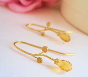 18ct Gold And Citrine Earrings