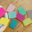 From left: fluoro pink, lemon, floss pink, peppermint green, aqua green, berry pinkl, viridian green, apple green, taupe
