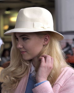 Off White Trilby With Tonal Ribbon
