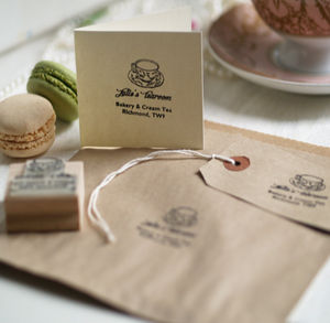 'Tearoom And Cake Shop' Personalised Rubber Stamp