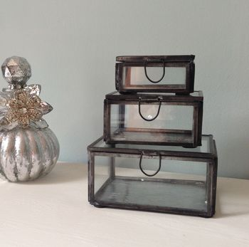 Glass Rectangle Jewellery Or Trinket Box Set Of Three