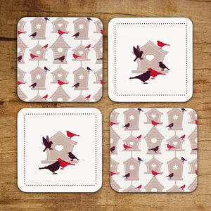 Set Of Four Birdhouse Coasters - tableware