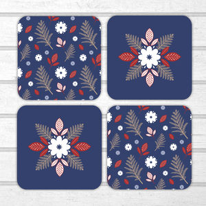 Set Of Four Folk Flower Coasters - coasters