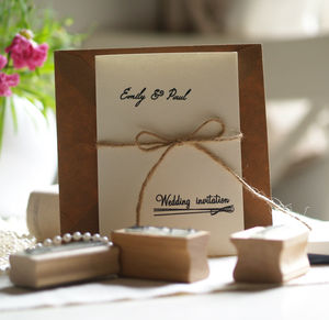 Diy Wedding Invitations Personalised Rubber Stamps Set - ribbon & wrap