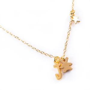 Teddy Bear Necklace Gold - children's accessories