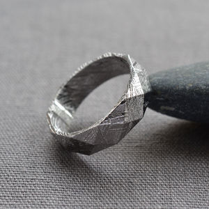 Faceted Meteorite Ring - distinctive dad jewellery