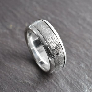 Meteorite Inlaid Silver Ring