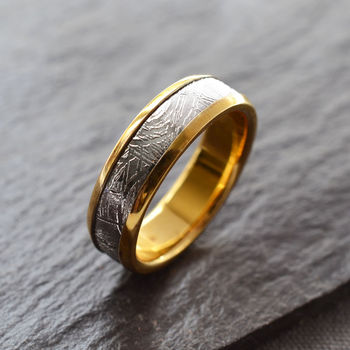 Meteorite Inlaid Gold Plated Ring