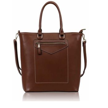 Contrast Stitch Tote Bag Brown