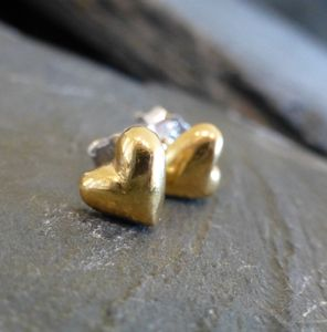 Gold And Silver Puffed Heart Studs - earrings