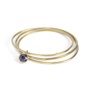 Narrow Gold Bangle - gold & diamonds