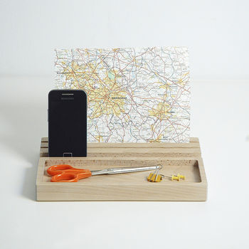 Desk Organiser, Wood iPad Stand, Phone Stand