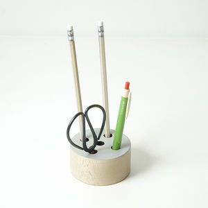 Pencil Holder, Beech Wood, Round Grey Design