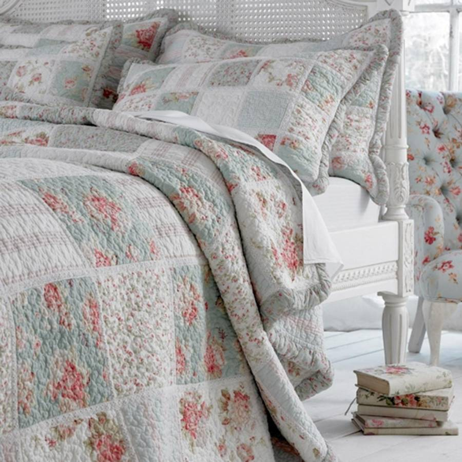 Bedspread Duck Egg Blue: Duck Egg Blue Floral Patchwork Quilt Bedspread By Marquis