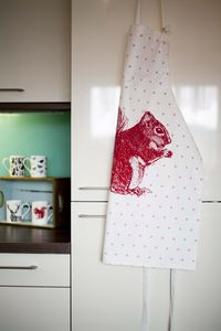 Cheery Red Squirrel Apron - aprons