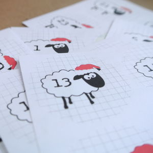 Christmas Sheep Advent Stickers - christmas labels & tags