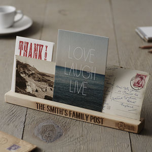 Personalised Wooden Family Post Rack - stationery