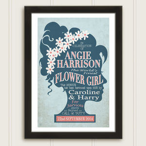 Flower Girl Personalised Vintage Style Thank You Print
