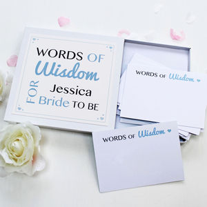 'Bride To Be' Words Of Wisdom Notes - personalised