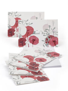 Poppy Thank You Notelets - thank you cards