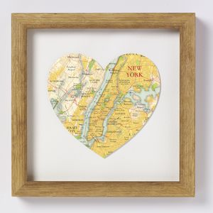 New York Map Heart Print - typography