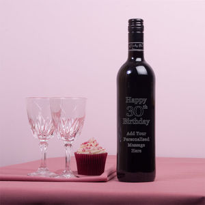 Personalised Engraved 30th Birthday Red Wine Gift - wine