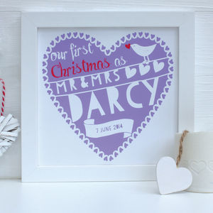 Personalised First Christmas As Mr And Mrs…Framed Print