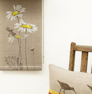 Daisy Roller Blind On Linen - curtains & blinds