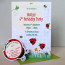 Party Invitation With Ladybirds And Bees Pack Of 10