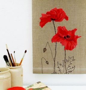 Poppy Roller Blind On Linen - bedroom
