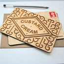 Custard Cream Biscuit Wooden Postcard