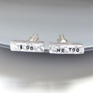 I Do, Me Too Personalised Wedding Cufflinks - men's jewellery
