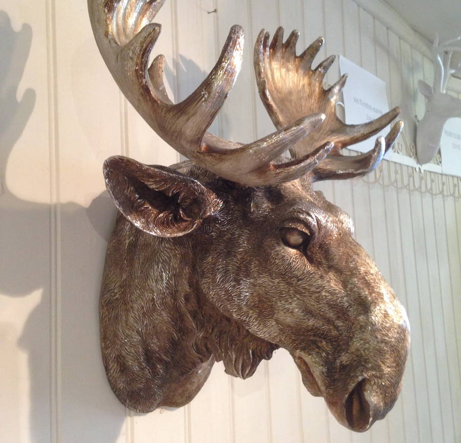 Moose head wall mounted out of stock by french grey interiors - Fake moose head mount ...