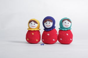 Knitted Russian Doll With The Rattle - soft toys & dolls