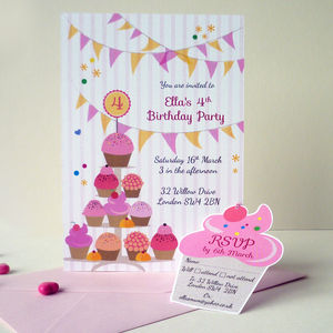 Cupcake Birthday Party Invitation With RSVP Tag