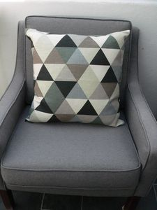 Geometric Triangle Cushion In Grey